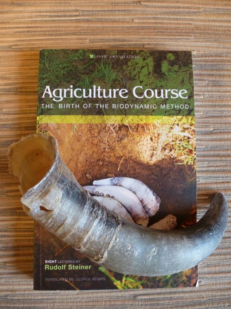 Steiner's Agriculture Course book with a cow horn.