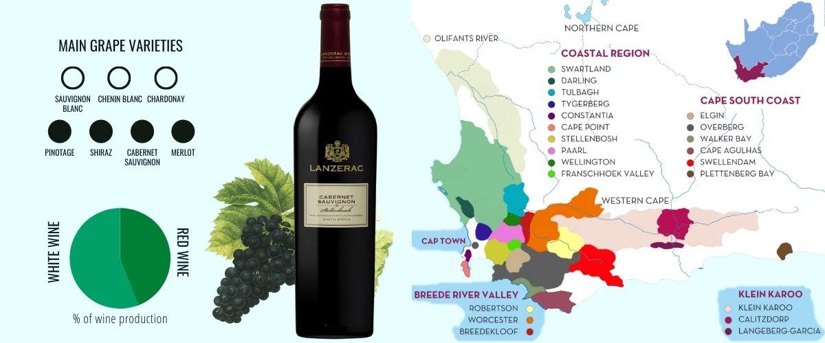 South Africa wine region map
